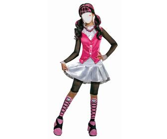 fotomontaje draculaura monster high vestida rosa