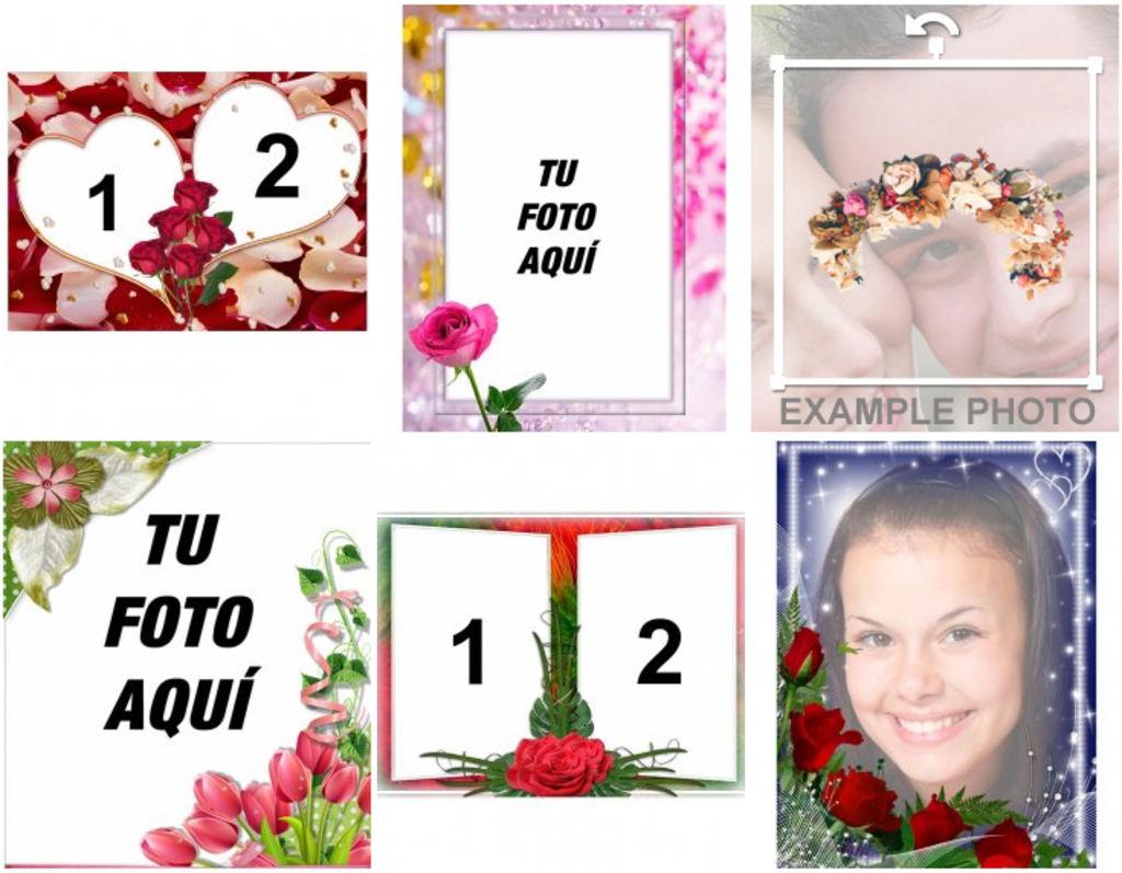 Marcos Para Fotos Con Hermosas Rosas Y Flores Para Hacer Online