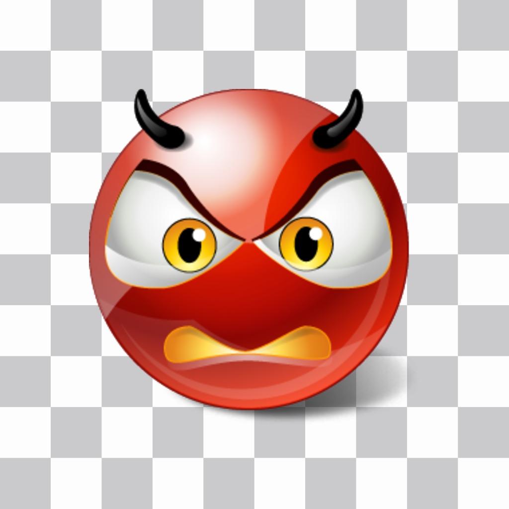 Smiley de demonio cabreado para poner en tu foto como un sticker