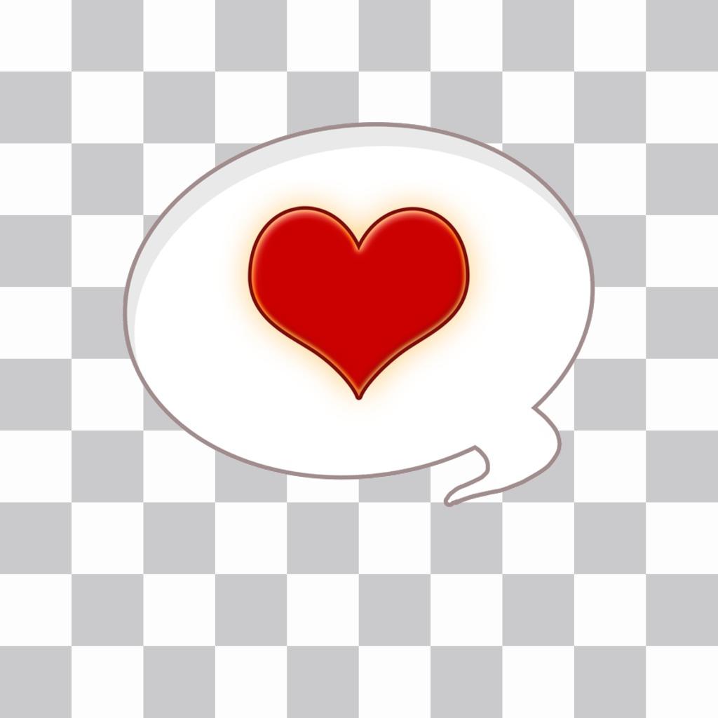 Globo de cómic con un corazón para poner en tus imágenes