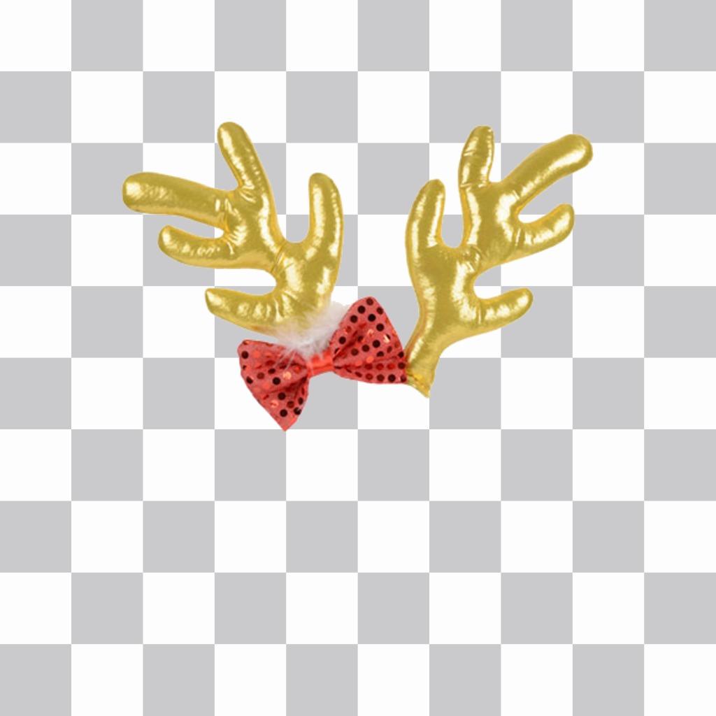 Cuernos para poner en foto, de reno dorado y lacito rojo para Navidad