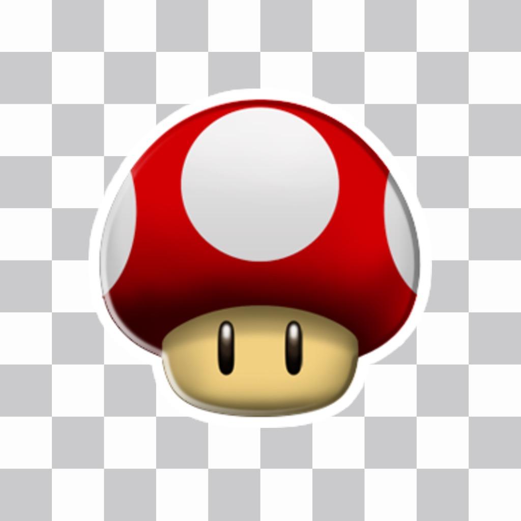 Pegatina con la seta roja de Mario Bros