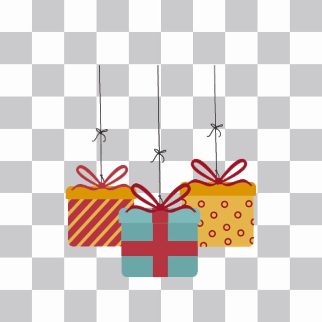 Pegatinas de tres cajas de regalos para tus fotos