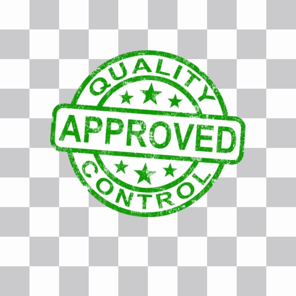 Sello de Approved/aprobado que puede poner online en tus fotos como un sticker