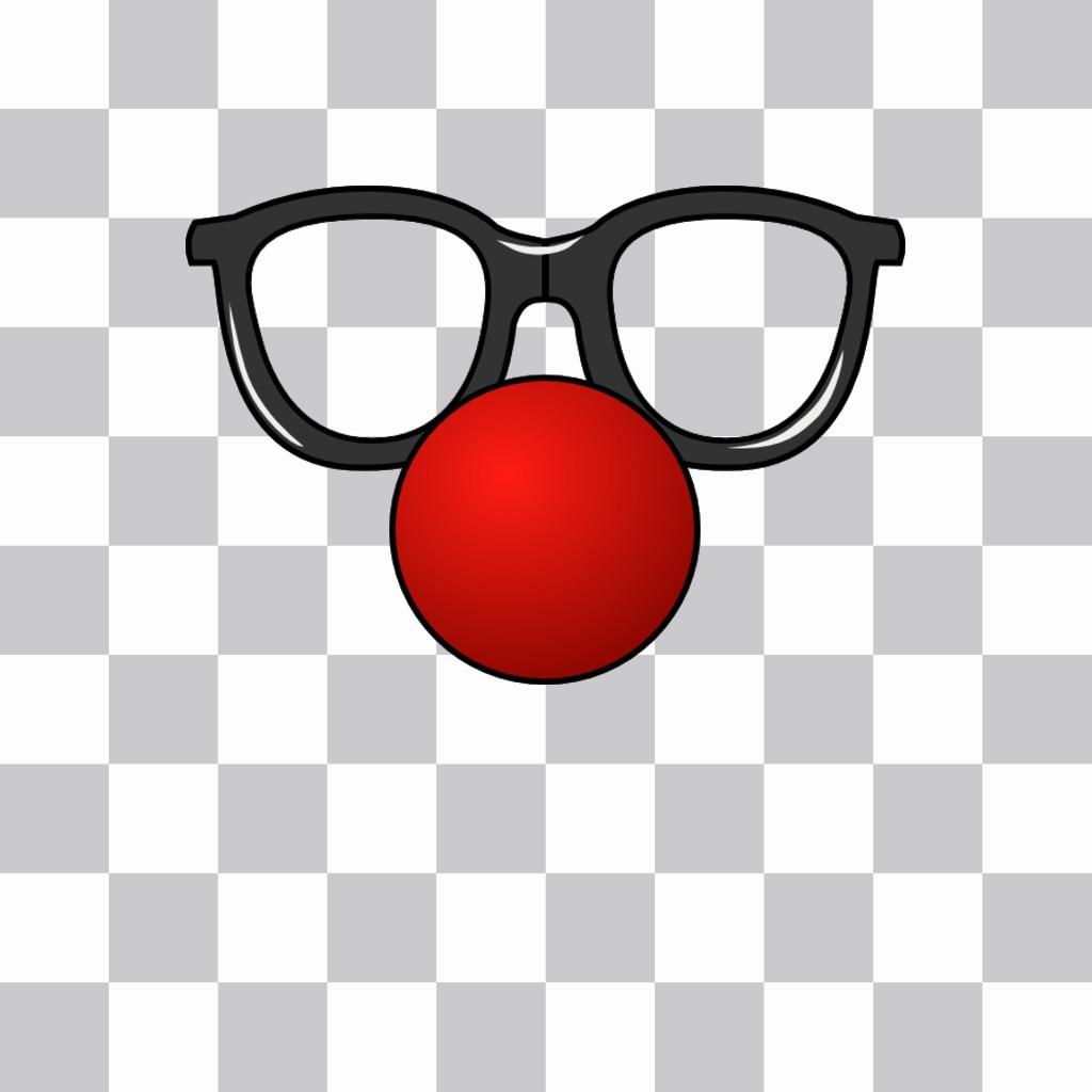 Gafas y nariz roja de payaso que puedes poner en tus fotos como un sticker