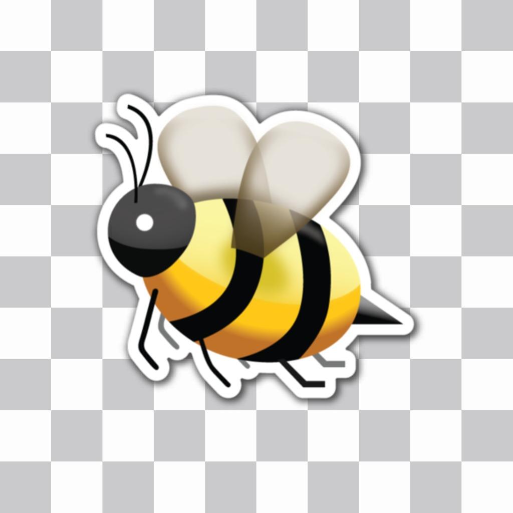 Emoji de una abeja con el aguijón como sticker online que puedes insertar en tus imagenes