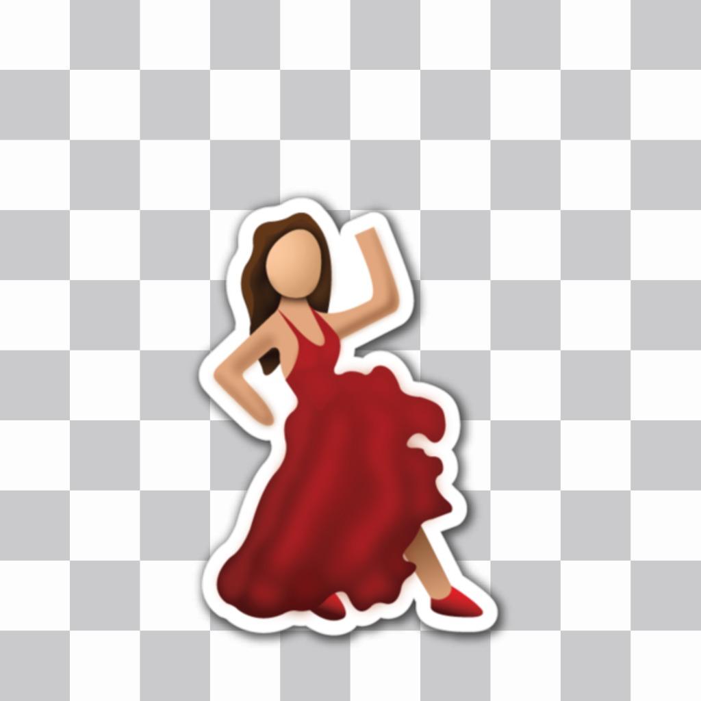 EMoticono de una flamenca bailando de whatsapp