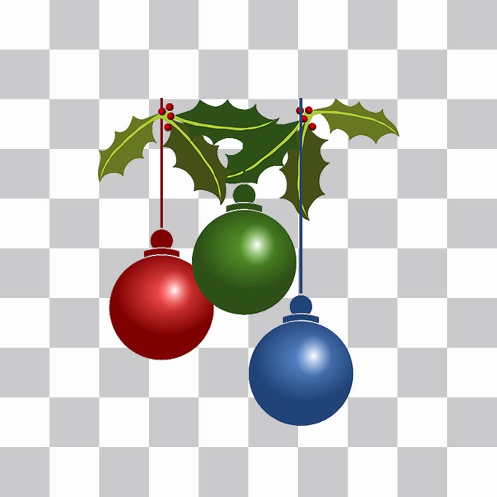 Sticker tres bolas de colores de Navidad para tus fotos