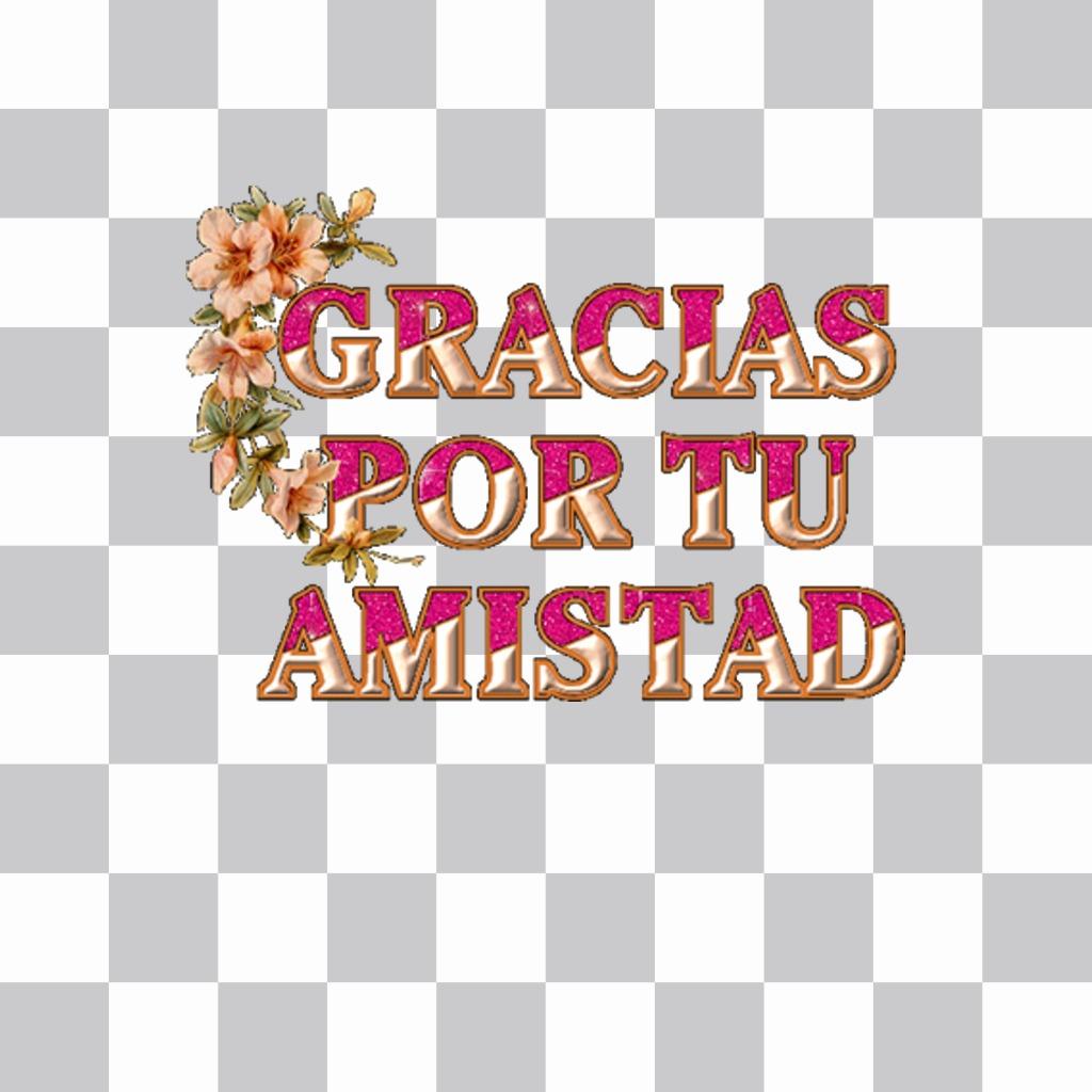 Agradece por la amistad con este decorativo sticker para tus fotos