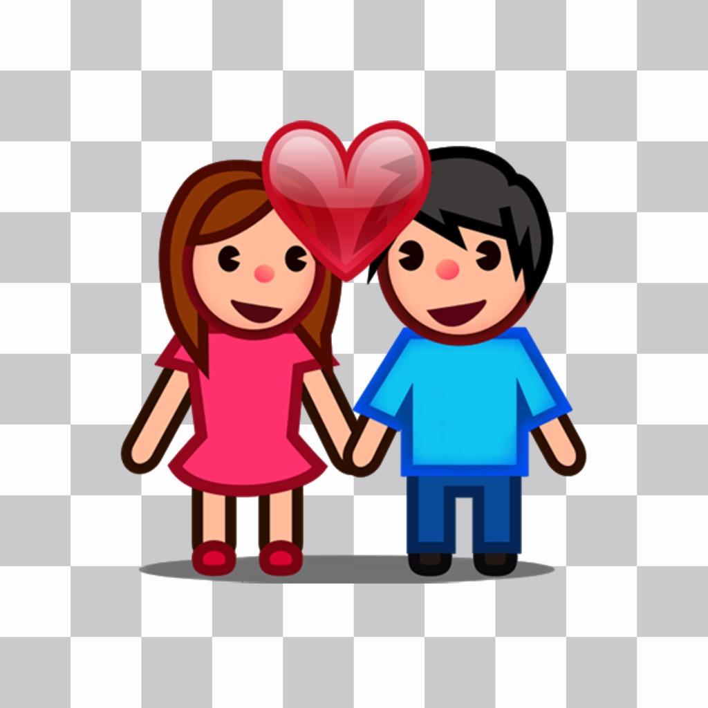 Muñequitos enamorados y con un corazón que puedes añadir en tus fotos