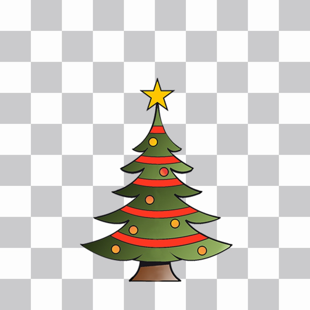 Decorativo árbol navideño para pegar en tus fotos online como un sticker