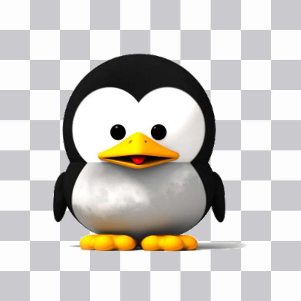 Pegatina de un tierno pinguino para añadir en tus fotos favoritas -  Fotoefectos